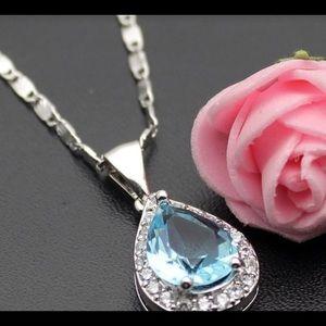 Jewelry - 🆕Sterling Silver CZ necklace London Blue stone